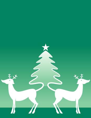 whose: Due renne cui fare code un albero di Natale Vettoriali