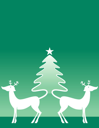 whose: Two reindeer whose tails make a Christmas tree Illustration