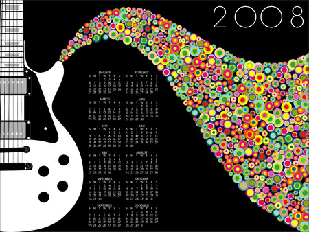 Music, Guitar Calendar for 2009. With Space for logo Vector