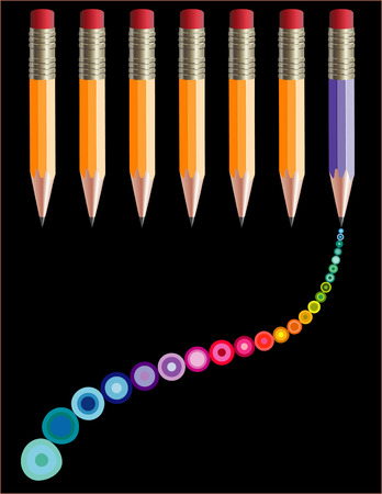 writing instrument: Seven pencils, one purple pencil streaming rainbow bubbles Illustration