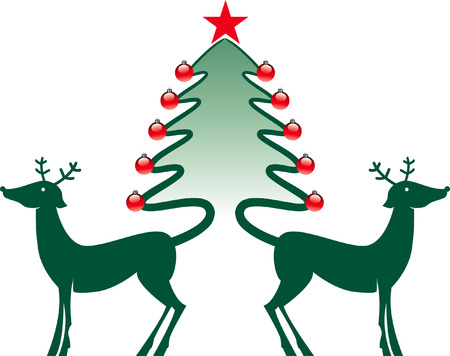 celebratory event: Two reindeer whose tails make a Christmas tree Illustration