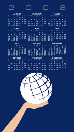 A globe Calendar for 2008 with space for logo and text Illustration