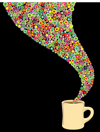 活気のあるコーヒー カップ  イラスト・ベクター素材