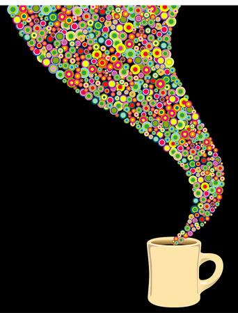 Een levendige koffie beker  Stock Illustratie