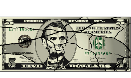 five dollar bill: A broken five dollar bill Illustration