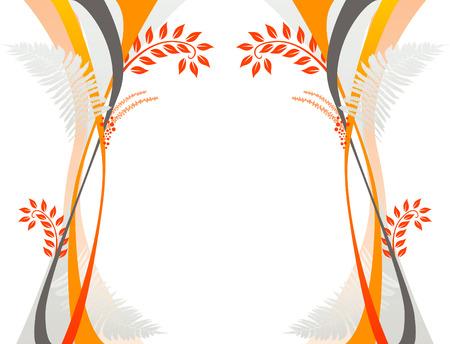 A graceful swoosh floral design with ferns Illustration