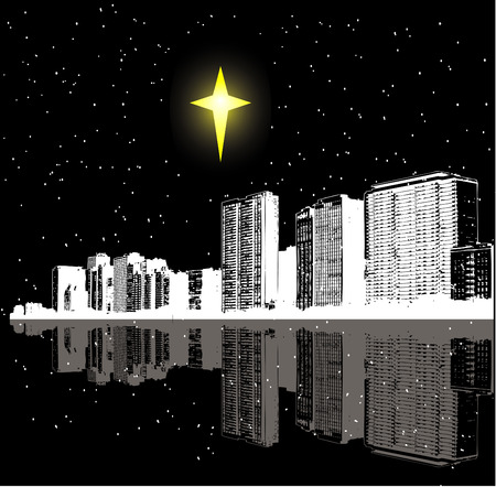 Christmas star over a city Vector