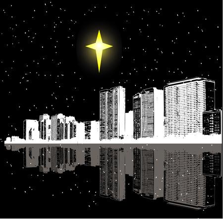 Christmas star over a city