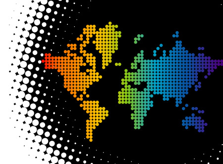 A vector map of the world made of color dots forming a rainbow