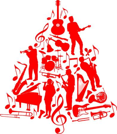 ミュージシャンと楽器から成っているベクトル クリスマス ツリー