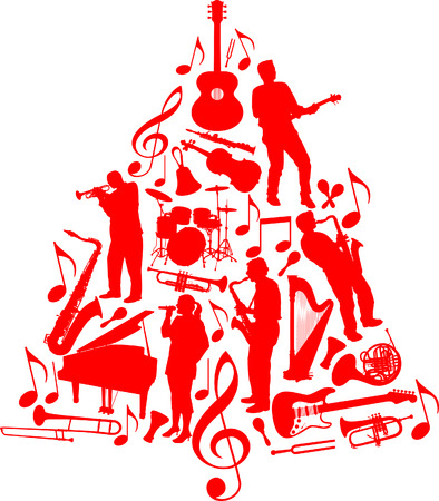 A vector Christmas tree made of musicians and musical instruments