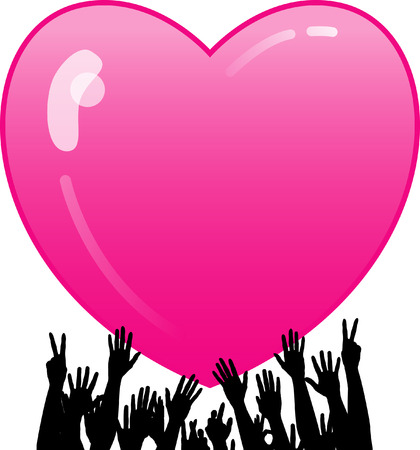 A Valentine's Day pink vector heart background with hands reaching for it