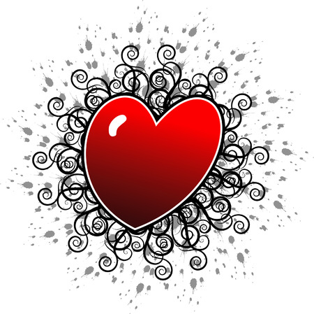 icon vector: A Valentines day heart floral with a grunge background Illustration