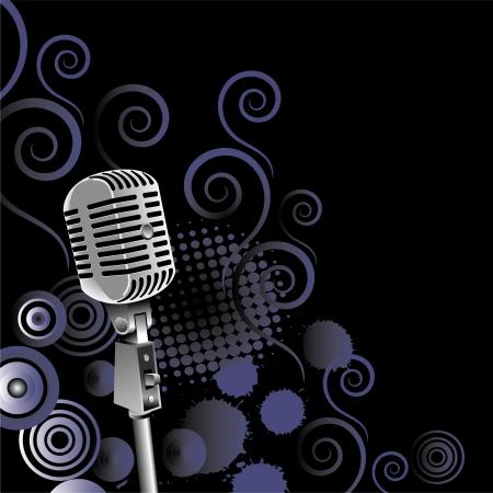 vintage microfoon vector achtergrond met ruimte voor tekst Stock Illustratie