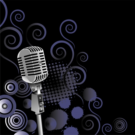 vintage microphone vector background with space for text Vector
