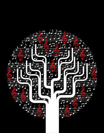 Un fond d'arbre vecteur musical abstrait avec des notes Banque d'images - 4290884