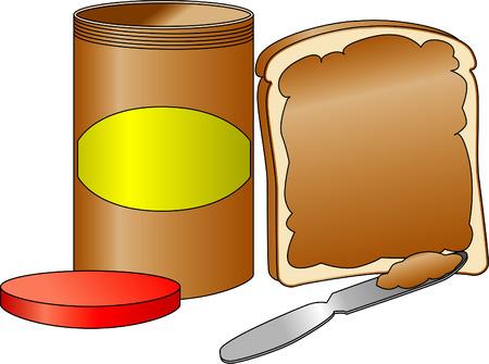 Bread with spread peanut butter along side a peanut butter jar