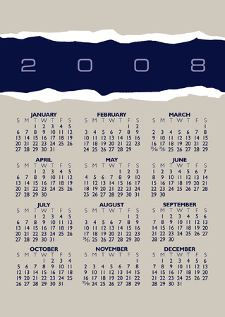 A 2008 vector calendar of torn paper with space for text Illustration