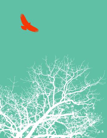 テキスト用のスペースと木と鳥のベクトルの背景