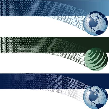 website backgrounds: Website banner backgrounds. Three vector corporate technology site website banner backgrounds Illustration