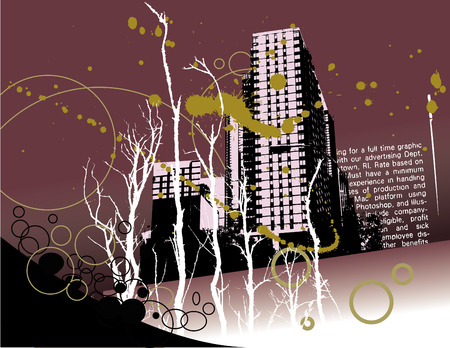 A landscape of buildings and grunge with space to overlay text Vector