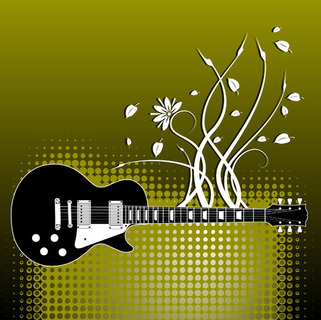 A precisely drawn electric guitar is placed in this vector grunge background