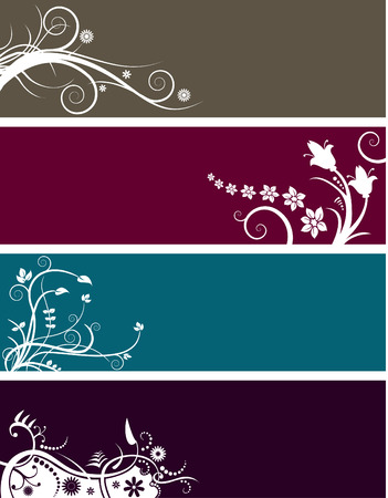 free vector art: An array of abstract floral web banners in assorted colors Illustration