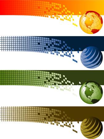 ウェブサイト バナーの背景。4 企業の技術サイトのウェブサイトのバナーの背景をベクトルします。  イラスト・ベクター素材