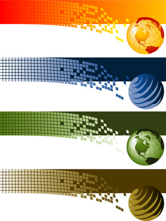 Website banner backgrounds. Four vector corporate technology site website banner backgrounds 일러스트