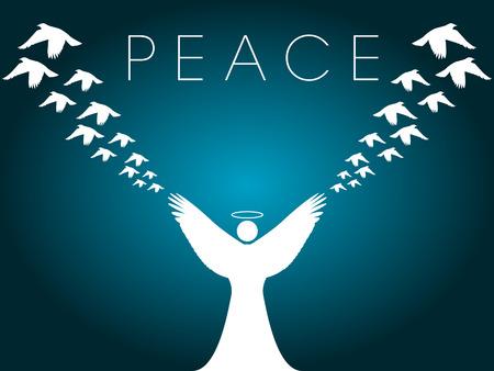 joyous: Este vector de Navidad de fondo muestra un �ngel de la liberaci�n de palomas de la paz