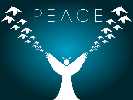 This Christmas vector background shows an angel releasing peace doves Vector