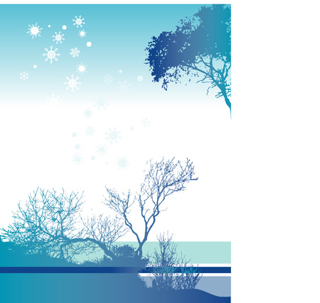 interesting: An interesting blue and white Christmas landscape with snow flakes Illustration