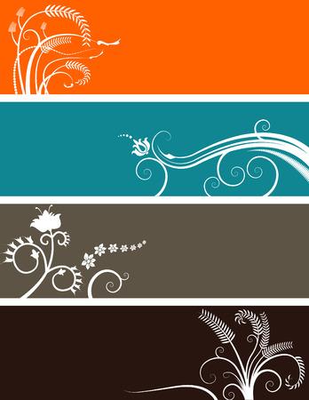 Een array van abstracte florale web banners in diverse kleuren