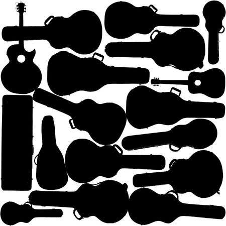 Guitar case silhouettes make a great background for musical event text Stock Vector - 4437482