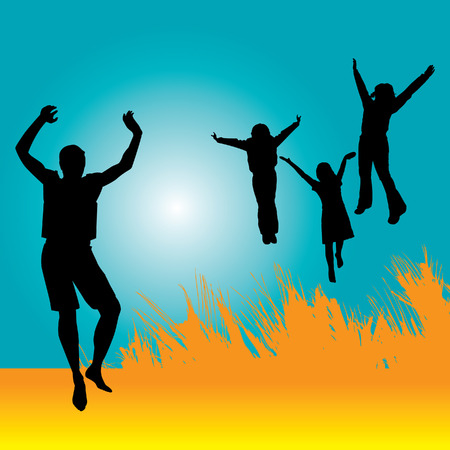 A vector background of people jumping Vector