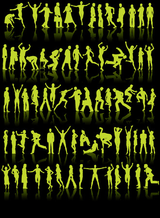 73 vector silhouettes of people in a variety of activities Vector