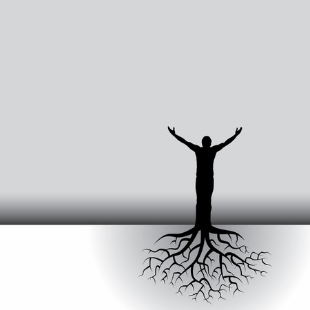 racines: Ce noir et blanc, vecteur de fond a un homme avec les racines des arbres
