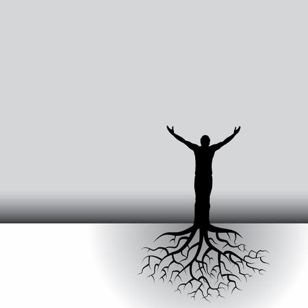 oneness: Questo vettore in bianco e nero di fondo � un uomo con le radici di albero Vettoriali