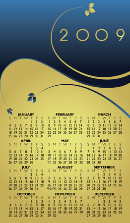 event planner: Vector Floral Calendar for the year 2009
