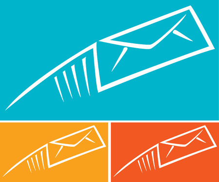 http: Assorted abstract images of colorful email envelopes Illustration