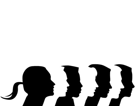 Seven diverse vector profiles in black & white with copy-space
