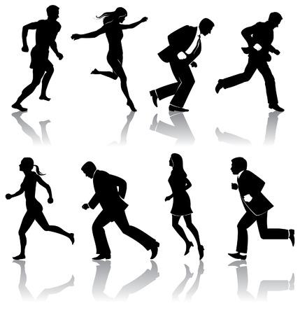 personas corriendo: ocho silos de personas que est�n en formato vectorial