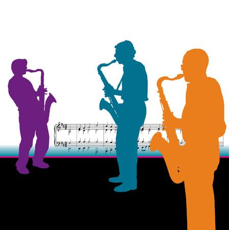 3 つのベクトルのサックス奏者  イラスト・ベクター素材
