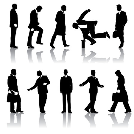 shadow people: Ten vector businessmen silhouettes Illustration