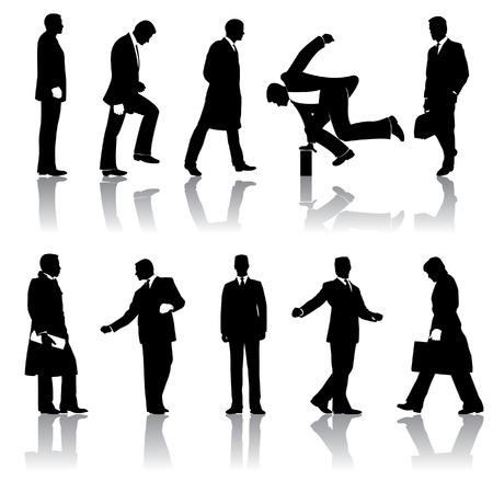 Ten vector businessmen silhouettes Stock Illustratie