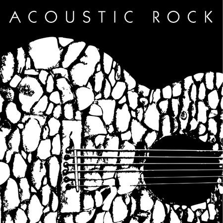 石で作られたアコースティック ギターのベクトルの描写