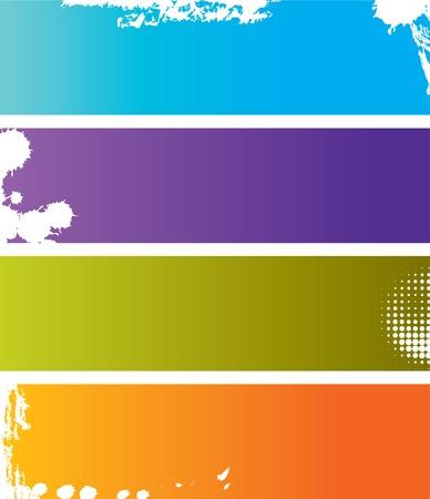 logo rock: Choix de quatre banni�res color�es grunge avec espace pour le texte
