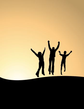 arms outstretched: Vector background of 3 people jumping for joy & space for text