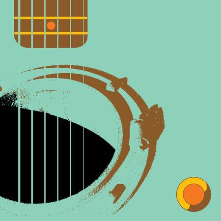 マンホールこのグランジ ギター背景にサウンド ホールとして機能します。  イラスト・ベクター素材