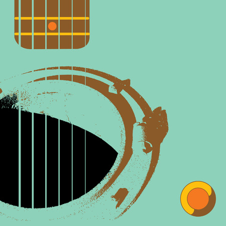 A manhole functions as sound hole in this grunge Guitar background Ilustração